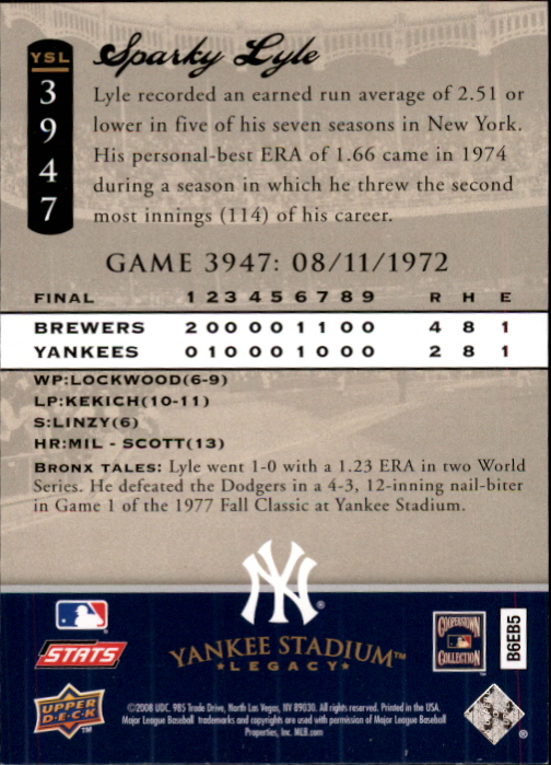 miniature 128 - 2008 UPPER DECK YANKEE STADIUM LEGACY COLLECTION #3000-3999 YOU PICK