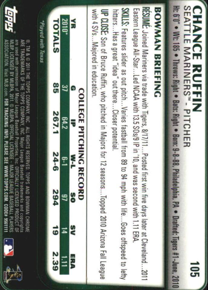 2011 BOWMAN CHROME DRAFT BASEBALL NM-MT U-PICK