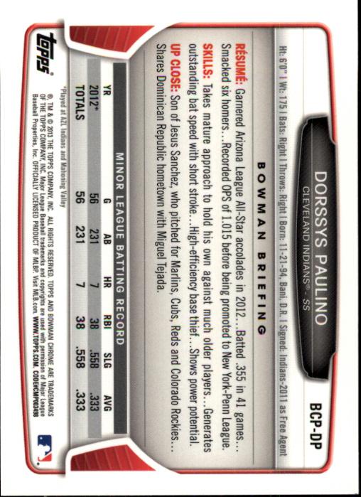 2013-Bowman-Chrome-BB-schede-di-inserimento-automatico-A3393-scegli-10-SPEDIZIONE-GRATUITA miniatura 63