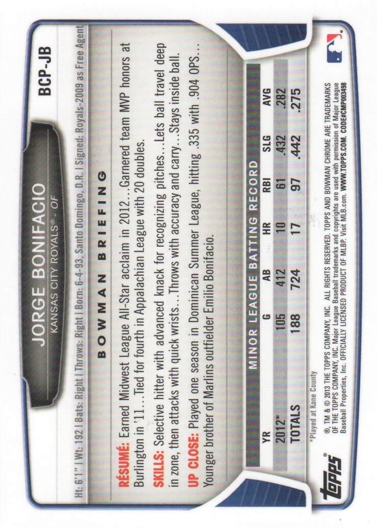 2013-Bowman-Chrome-BB-schede-di-inserimento-automatico-A3393-scegli-10-SPEDIZIONE-GRATUITA miniatura 106