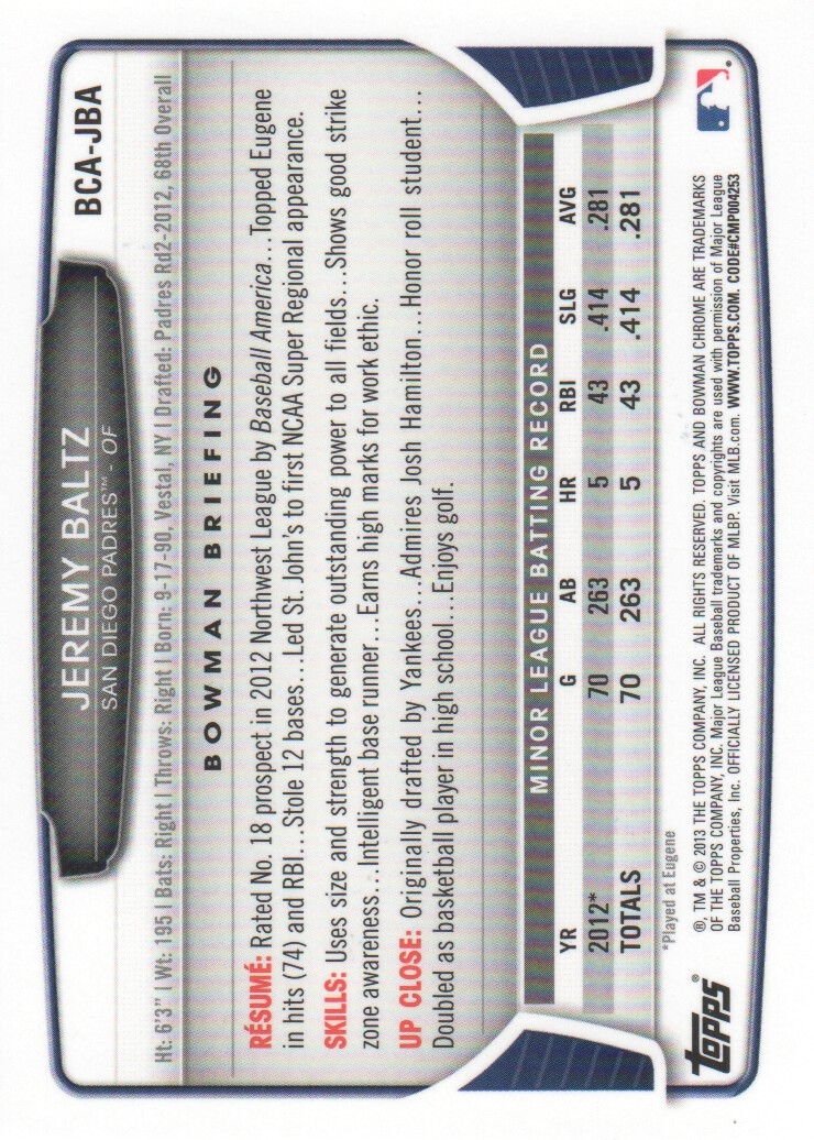 2013-Bowman-Chrome-BB-schede-di-inserimento-automatico-A3393-scegli-10-SPEDIZIONE-GRATUITA miniatura 19
