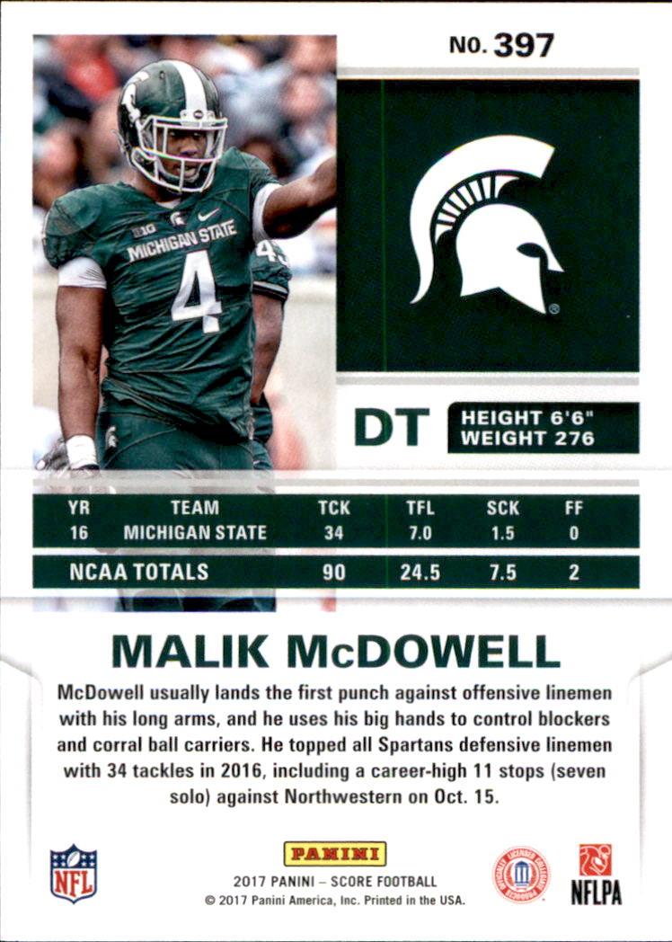rookie fútbol card!!! Malik mcdowell, #397 2017 Panini score