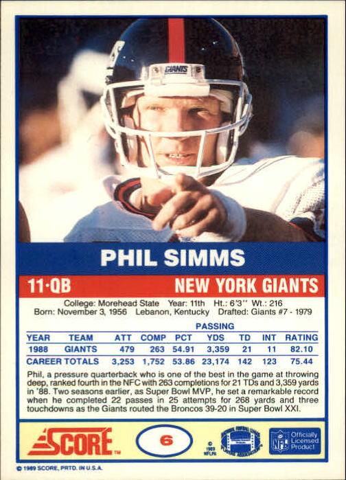 1989-Score-Football-Card-s-1-200-Rookies-A0435-You-Pick-10-FREE-SHIP thumbnail 11