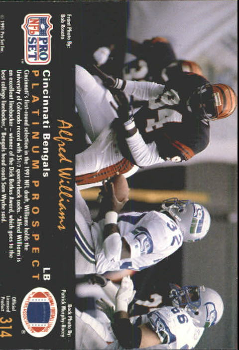 1991 pro set platinum football  card  284 315 pick