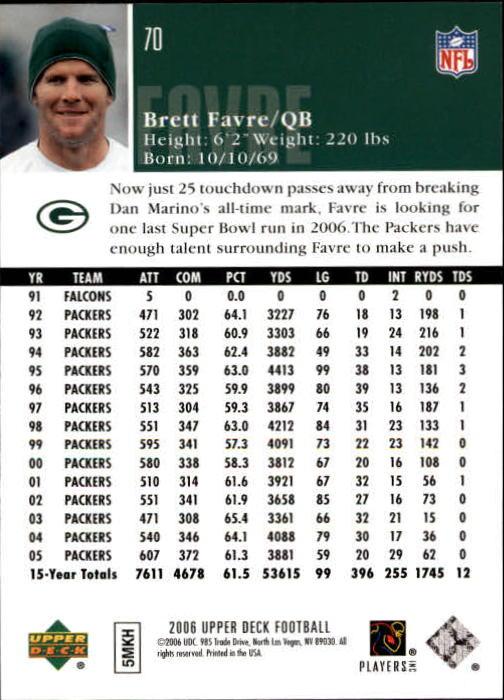 2006-Upper-Deck-Football-Card-s-1-200-A2099-You-Pick-10-FREE-SHIP thumbnail 135