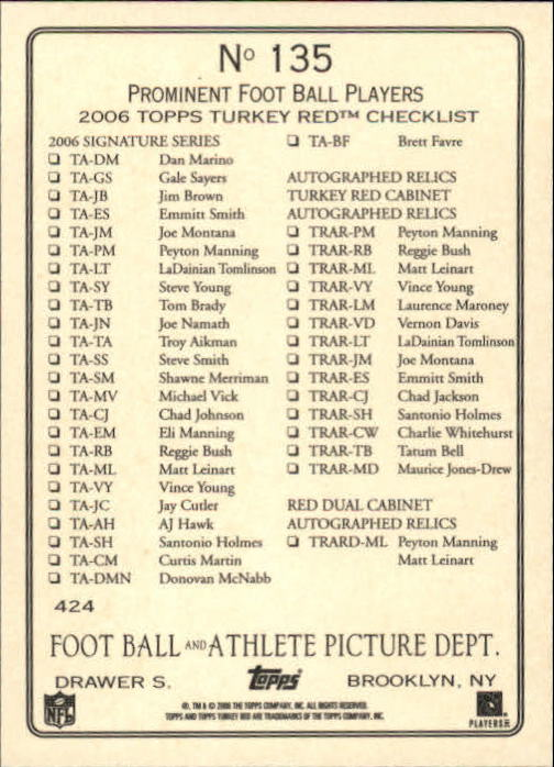 2006-Topps-Turkey-Red-FB-s-1-245-Rookies-A1973-You-Pick-10-FREE-SHIP