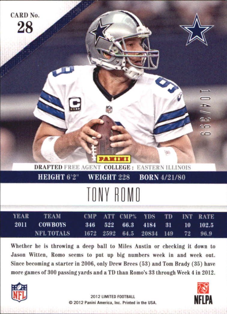 2012 Limited Football #1-250 - Your Choice ...