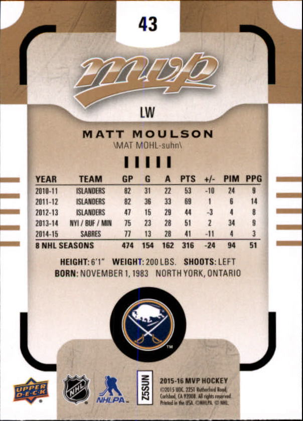 2015-16-Upper-Deck-MVP-Hockey-Card-Pick thumbnail 87