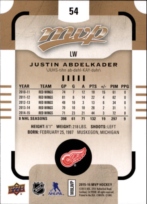 2015-16-Upper-Deck-MVP-Hockey-Card-Pick thumbnail 109