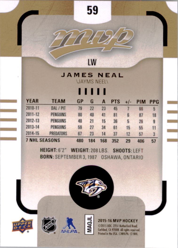 2015-16-Upper-Deck-MVP-Hockey-Card-Pick thumbnail 119
