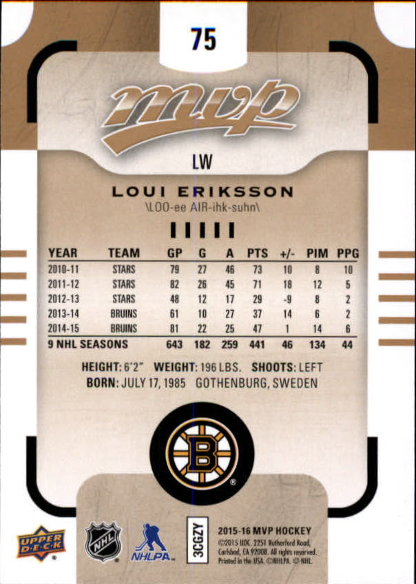 2015-16-Upper-Deck-MVP-Hockey-Card-Pick thumbnail 151