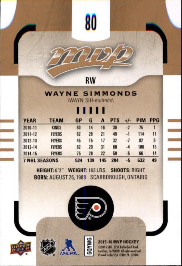 2015-16-Upper-Deck-MVP-Hockey-Card-Pick thumbnail 161