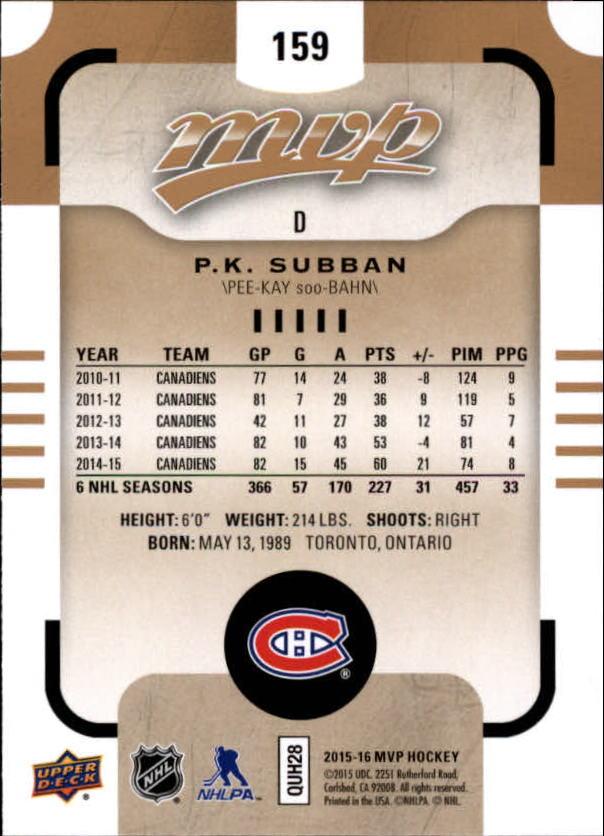 2015-16-Upper-Deck-MVP-Hockey-Card-Pick thumbnail 275