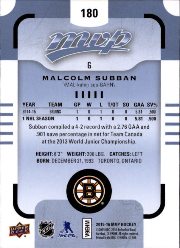 2015-16-Upper-Deck-MVP-Hockey-Card-Pick thumbnail 299