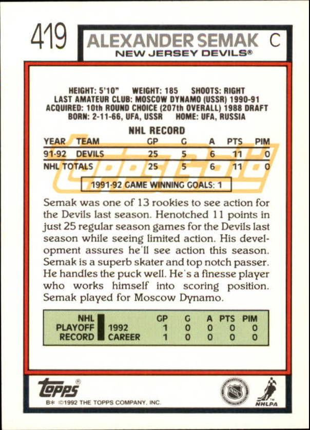 1992-93-Topps-Gold-Inserts-Hockey-s-401-529-A3554-You-Pick-10-FREE-SHIP miniature 31