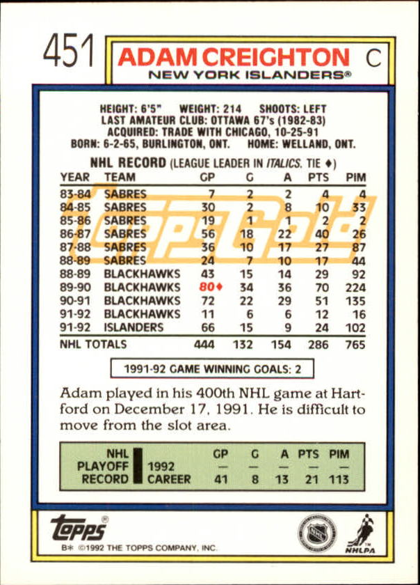 1992-93-Topps-Gold-Inserts-Hockey-s-401-529-A3554-You-Pick-10-FREE-SHIP miniature 73
