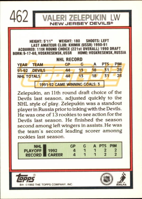1992-93-Topps-Gold-Inserts-Hockey-s-401-529-A3554-You-Pick-10-FREE-SHIP miniature 89