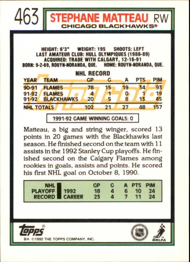 1992-93-Topps-Gold-Inserts-Hockey-s-401-529-A3554-You-Pick-10-FREE-SHIP miniature 91