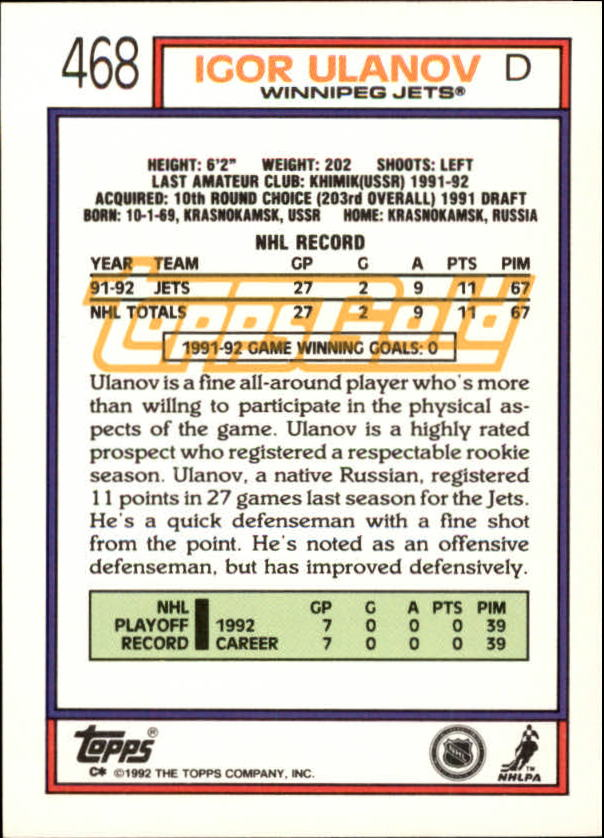 1992-93-Topps-Gold-Inserts-Hockey-s-401-529-A3554-You-Pick-10-FREE-SHIP miniature 101