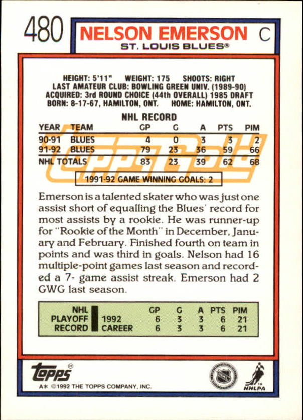 1992-93-Topps-Gold-Inserts-Hockey-s-401-529-A3554-You-Pick-10-FREE-SHIP miniature 121