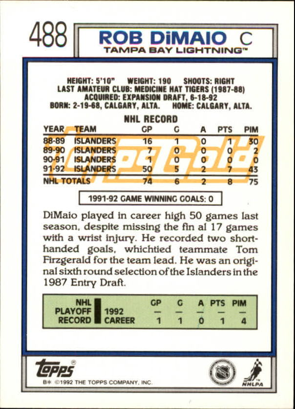 1992-93-Topps-Gold-Inserts-Hockey-s-401-529-A3554-You-Pick-10-FREE-SHIP miniature 131