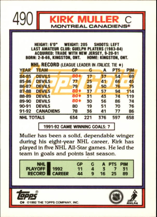 1992-93-Topps-Gold-Inserts-Hockey-s-401-529-A3554-You-Pick-10-FREE-SHIP miniature 133