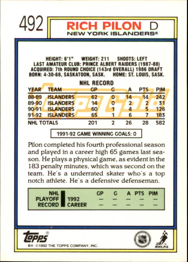 1992-93-Topps-Gold-Inserts-Hockey-s-401-529-A3554-You-Pick-10-FREE-SHIP miniature 135