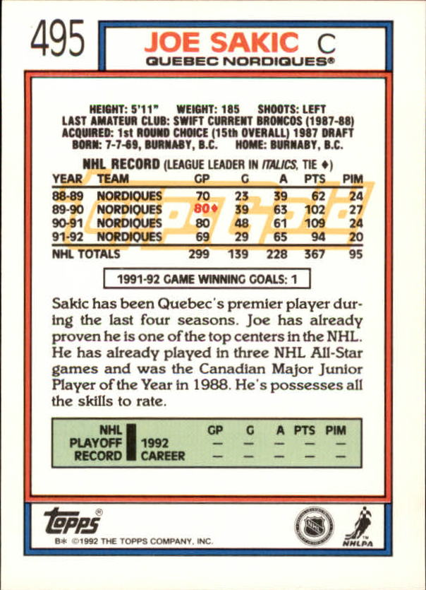 1992-93-Topps-Gold-Inserts-Hockey-s-401-529-A3554-You-Pick-10-FREE-SHIP miniature 141