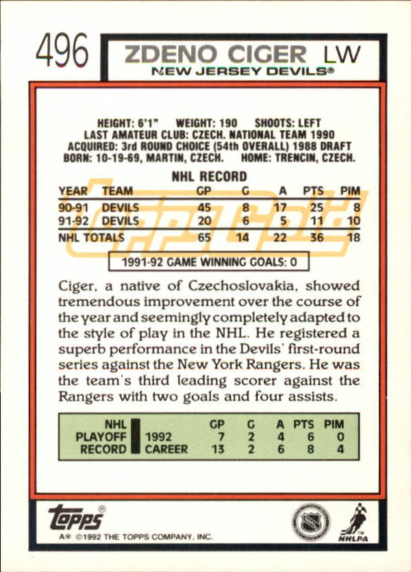 1992-93-Topps-Gold-Inserts-Hockey-s-401-529-A3554-You-Pick-10-FREE-SHIP miniature 143