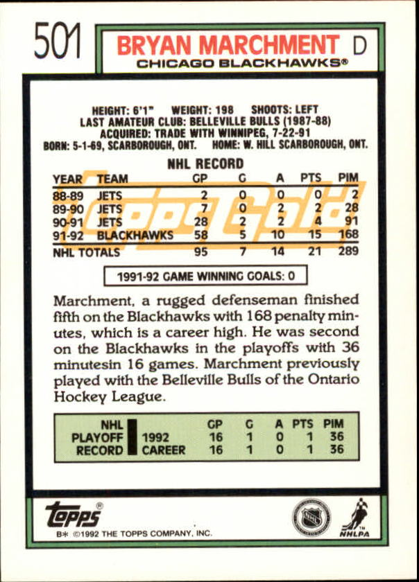 1992-93-Topps-Gold-Inserts-Hockey-s-401-529-A3554-You-Pick-10-FREE-SHIP miniature 148