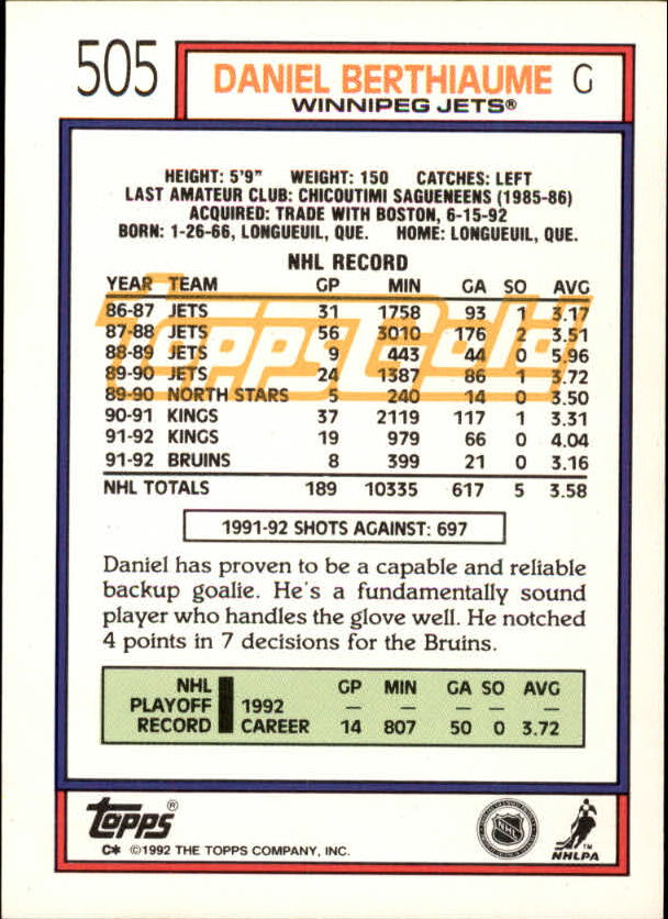 1992-93-Topps-Gold-Inserts-Hockey-s-401-529-A3554-You-Pick-10-FREE-SHIP miniature 152