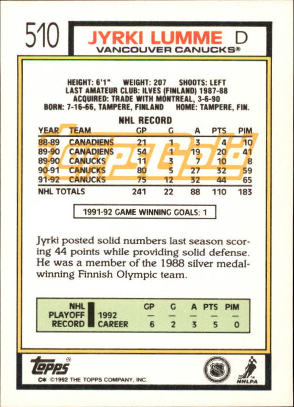 1992-93-Topps-Gold-Inserts-Hockey-s-401-529-A3554-You-Pick-10-FREE-SHIP miniature 160