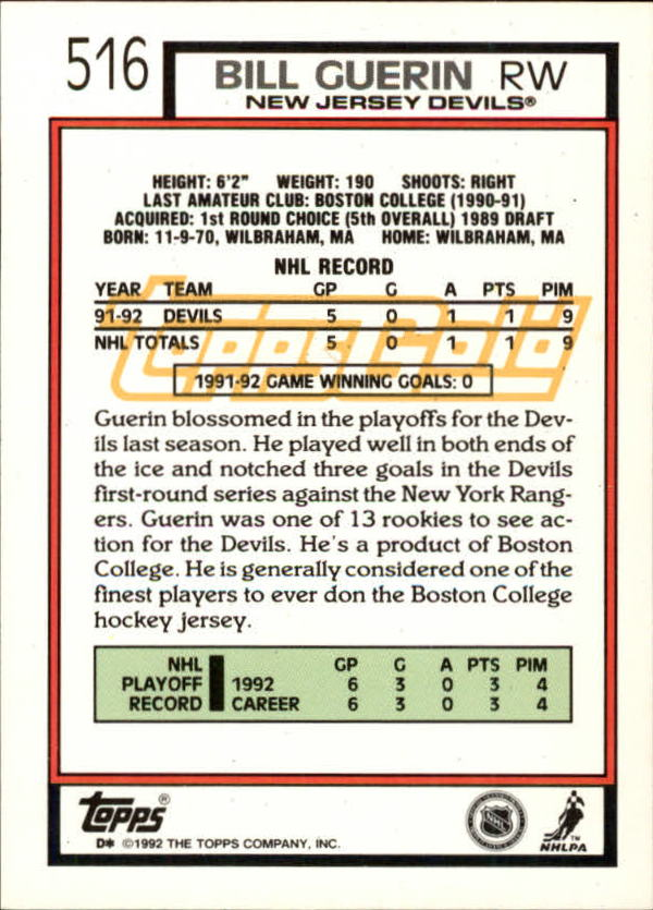 1992-93-Topps-Gold-Inserts-Hockey-s-401-529-A3554-You-Pick-10-FREE-SHIP miniature 170