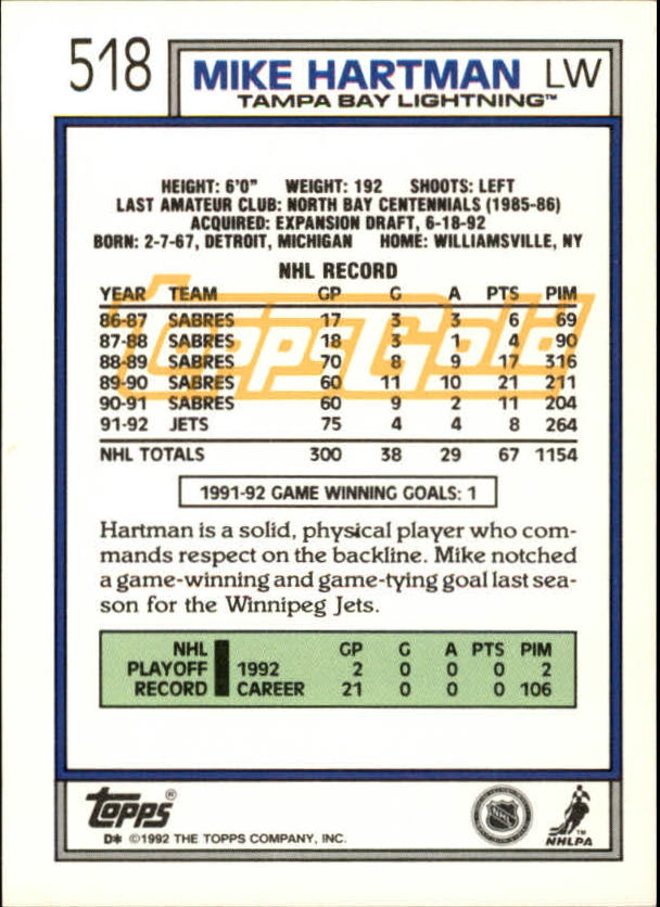 1992-93-Topps-Gold-Inserts-Hockey-s-401-529-A3554-You-Pick-10-FREE-SHIP miniature 174