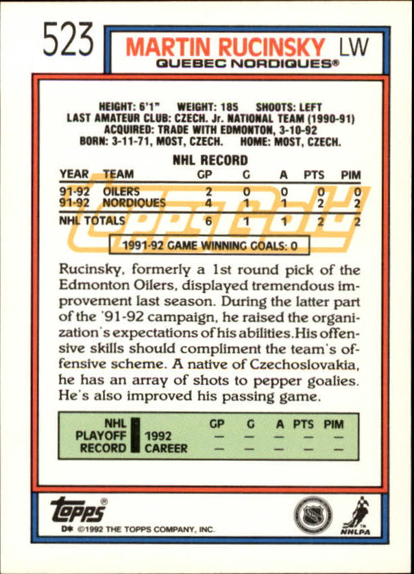 1992-93-Topps-Gold-Inserts-Hockey-s-401-529-A3554-You-Pick-10-FREE-SHIP miniature 182