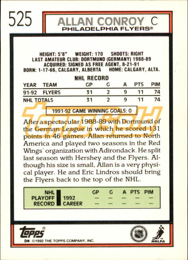 1992-93-Topps-Gold-Inserts-Hockey-s-401-529-A3554-You-Pick-10-FREE-SHIP miniature 184