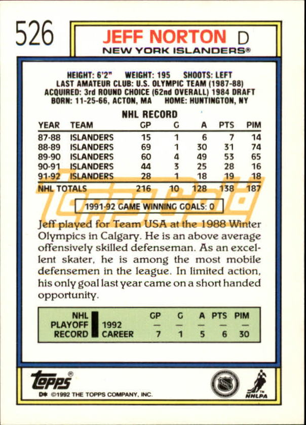 1992-93-Topps-Gold-Inserts-Hockey-s-401-529-A3554-You-Pick-10-FREE-SHIP miniature 186