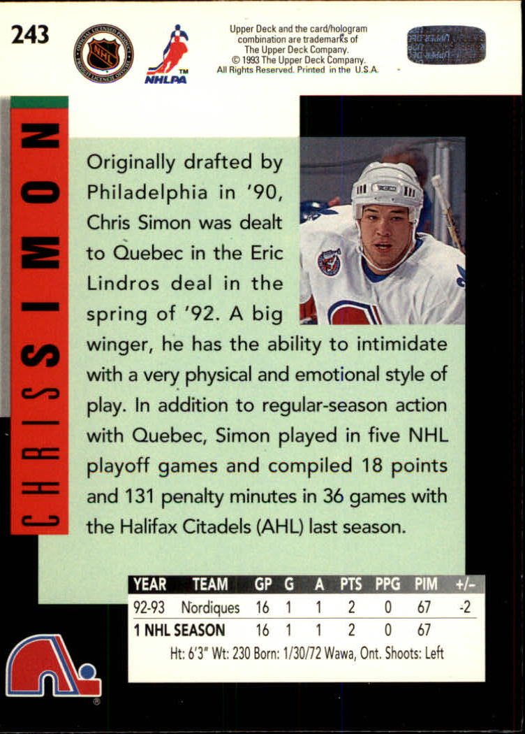 1993-94-Upper-Deck-Hk-039-s-1-250-Rookies-You-Pick-Buy-10-cards-FREE-SHIP thumbnail 233