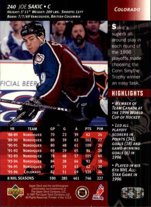 1996-97-Upper-Deck-Hk-Cards-201-390-Rookies-A2298-You-Pick-10-FREE-SHIP thumbnail 65