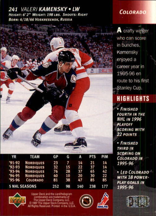 1996-97-Upper-Deck-Hk-Cards-201-390-Rookies-A2298-You-Pick-10-FREE-SHIP thumbnail 67