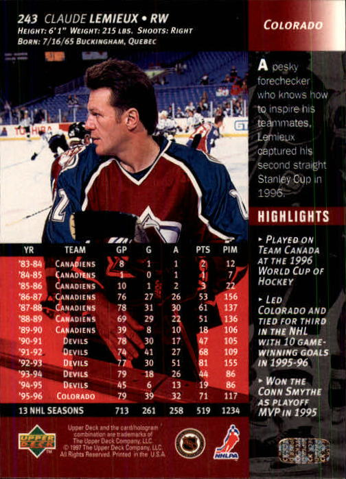 1996-97-Upper-Deck-Hk-Cards-201-390-Rookies-A2298-You-Pick-10-FREE-SHIP thumbnail 71