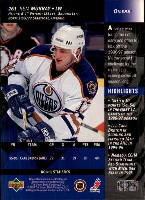 1996-97-Upper-Deck-Hk-Cards-201-390-Rookies-A2298-You-Pick-10-FREE-SHIP thumbnail 101