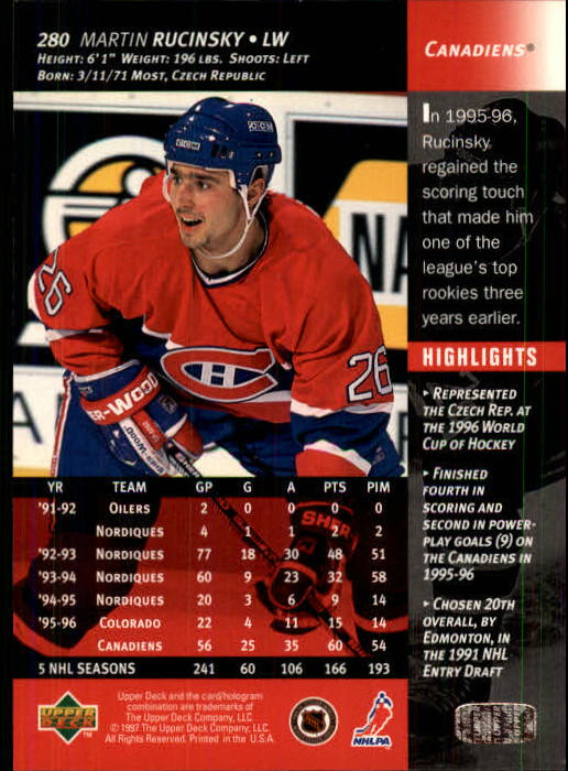 1996-97-Upper-Deck-Hk-Cards-201-390-Rookies-A2298-You-Pick-10-FREE-SHIP thumbnail 131