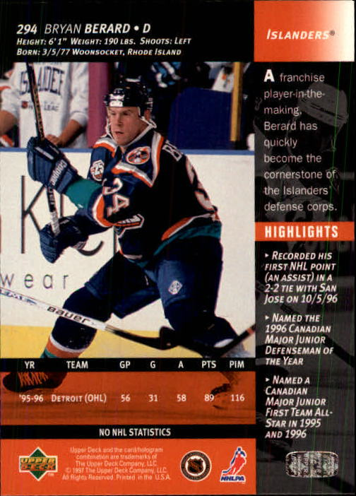 1996-97-Upper-Deck-Hk-Cards-201-390-Rookies-A2298-You-Pick-10-FREE-SHIP thumbnail 159