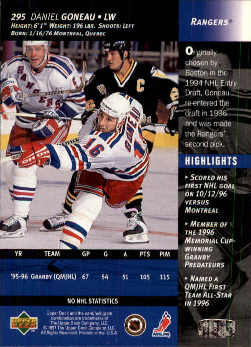 1996-97-Upper-Deck-Hk-Cards-201-390-Rookies-A2298-You-Pick-10-FREE-SHIP thumbnail 161