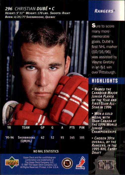 1996-97-Upper-Deck-Hk-Cards-201-390-Rookies-A2298-You-Pick-10-FREE-SHIP thumbnail 163