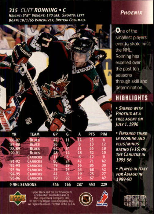 1996-97-Upper-Deck-Hk-Cards-201-390-Rookies-A2298-You-Pick-10-FREE-SHIP thumbnail 197
