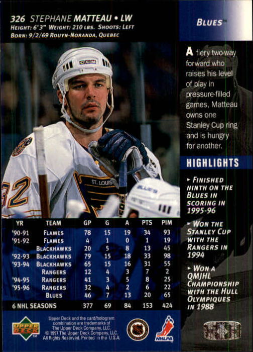 1996-97-Upper-Deck-Hk-Cards-201-390-Rookies-A2298-You-Pick-10-FREE-SHIP thumbnail 213