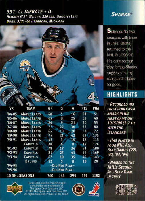 1996-97-Upper-Deck-Hk-Cards-201-390-Rookies-A2298-You-Pick-10-FREE-SHIP thumbnail 223