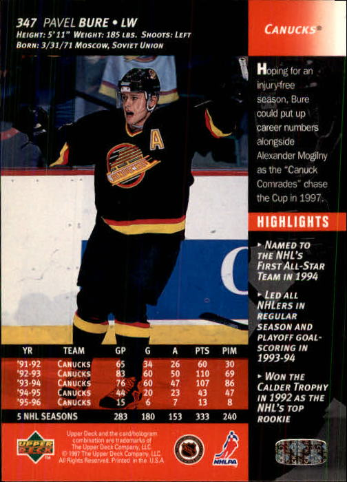 1996-97-Upper-Deck-Hk-Cards-201-390-Rookies-A2298-You-Pick-10-FREE-SHIP thumbnail 253